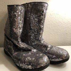 Joan Boyce Silver Sequin Boots